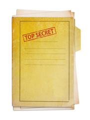 Old folder with top secret stamp.