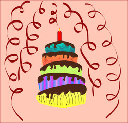 Colored cake for new  year, Vector illustration
