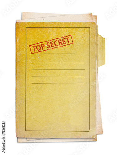 canvas print picture Old folder with top secret stamp.