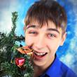 Teenager with Christmas Tree