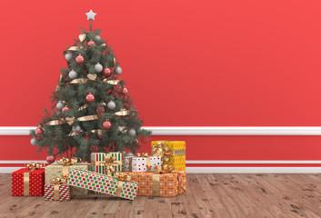 Árbol de Navidad decorado con regalos en habitación roja