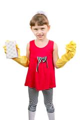 Little Girl in Rubber Gloves