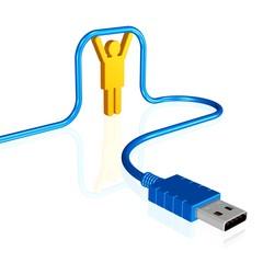 Mensch mit USB-Kabel - Vernetzung/Anschluss