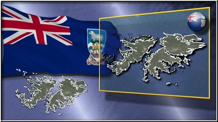 Falkland Islands flag and map animation