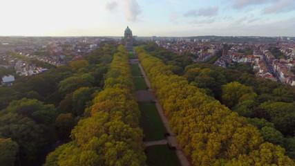 Beautiful autumn park alley aerial shot, Brussels Park Elisabeth