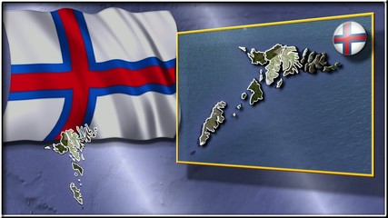 Faroes Islands flag and map animation