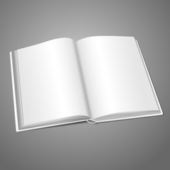Blank white vector opened book or photo album for your messages
