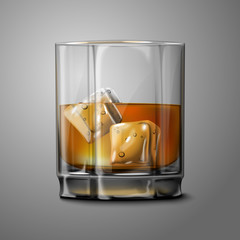 Realistic Vector glass with smokey Scotch Whiskey and ice