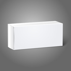 Realistic white blank paper package box. Isolated on grey