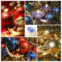 Holiday collage with Christmas tree decorations, creative design
