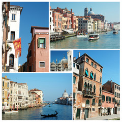 Collage of old Venice (Italy) famous landmarks for travel design