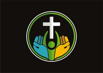 Christian cross religious pray people logo vector