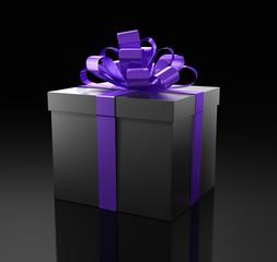 Edles Geschenk vor dunklem Hintergrund