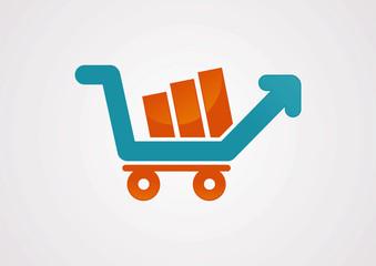 Shopping cart up arrow logo vector