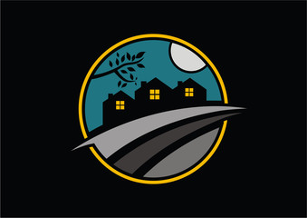 Circle village to night with moon logo vector