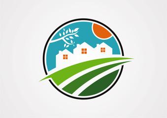 Circle village morning logo vetor