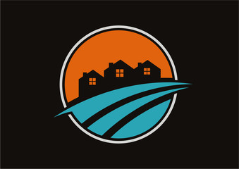 Circle real estate logo vector