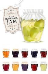 Set of homemade jam in jars