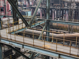 interior of old steel mill