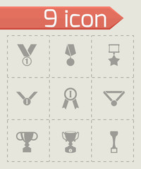 Vector black trophy and awards icon set