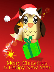 Merry Christmas & Happy New Year - Eule