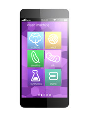Smart phone apps for monitoring wash machine, concept for IoT
