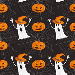 Halloween pattern with ghosand jack-o-lantern and web