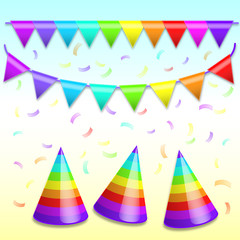 Rainbow Bunting Banner Garland, holiday hats and Confetti. Vecto