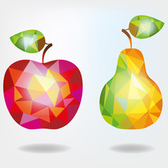 Polygonal fruit apple and pear. Vector illustration