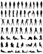Black silhouettes of beautiful and sexy girls, vector - 73367670