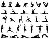 Silhouettes of yoga and fitness, vector