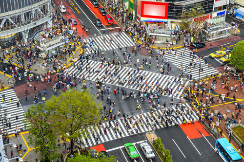 Fotobehang Tokyo Shibuya, Tokyo, Japan at Shibuya Crossing