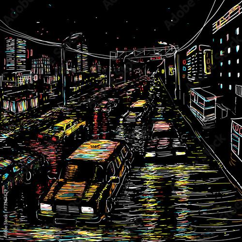 Fototapeta Night city traffic