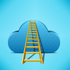 Cloud with ladder on blue