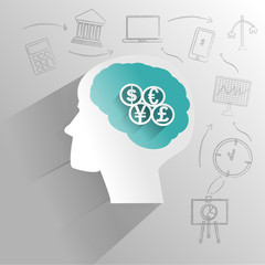 Human brain with financial thinking