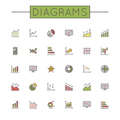 Vector Colored Diagrams Line Icons