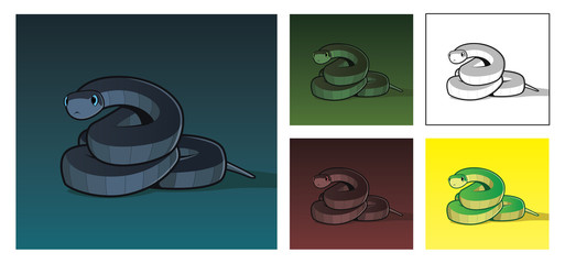 Vector realistic illustration of snake in different colors