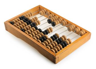 Old accounting wooden abacus isolated on white