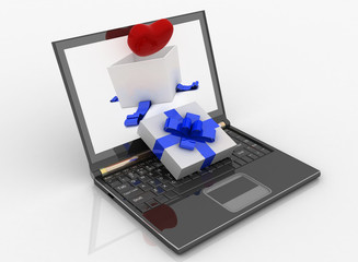 Laptop and open box for gift with a heart on white