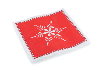 red Christmas or festive paper napkins aka serviettes, isolated