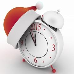 Alarm clock with christmas santa hat, 3d illustration