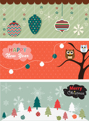 Set of Christmas banner