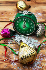 clock old-fashioned and Christmas ornaments