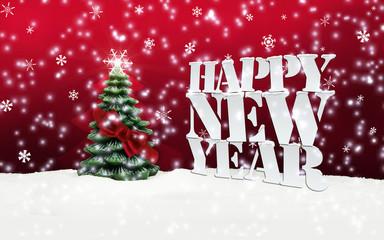 Happy New Year Christmas Winter Snow