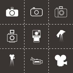 Vector black camera icon set