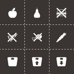 Vector black diet icon set