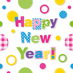 happy new year greeting card with colorful circles pattern
