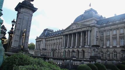 Brussels Royal Palace pan, luxury building, Belgium flag on top