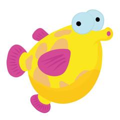 Cartoon fish in light blue sea
