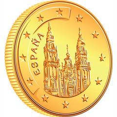 vector  money gold coin Spanish euro